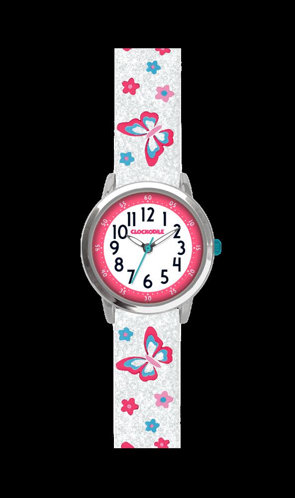 Motýlí bílé dívčí hodinky CLOCKODILE BUTTERFLIES se třpytkami CWG5041