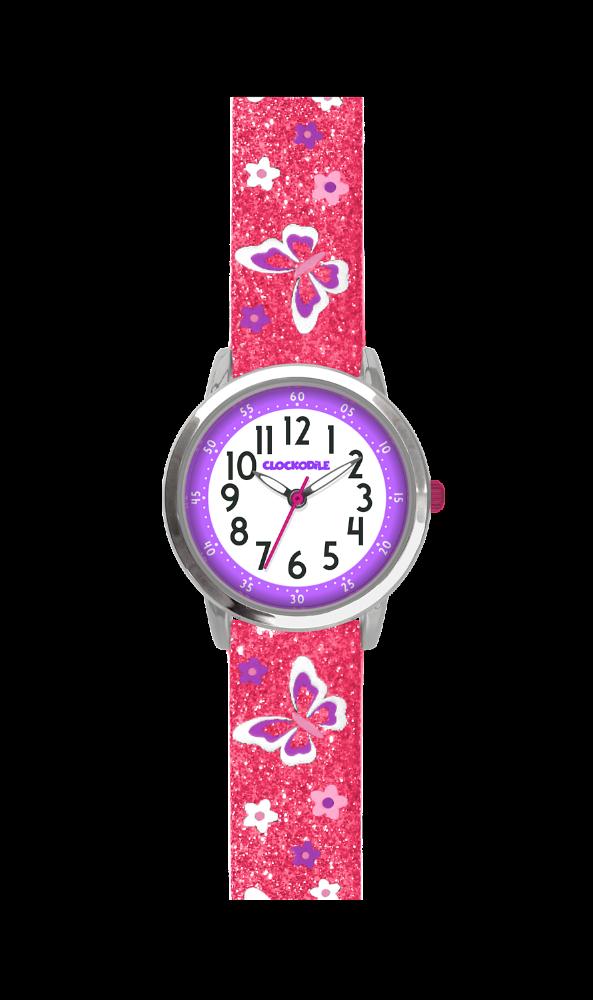 Motýlí růžové dívčí hodinky CLOCKODILE BUTTERFLIES se třpytkami CWG5042