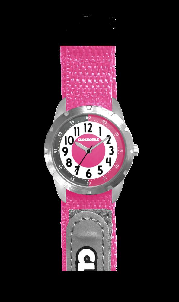 Růžové reflexní dětské hodinky na suchý zip CLOCKODILE REFLEX CWX0024
