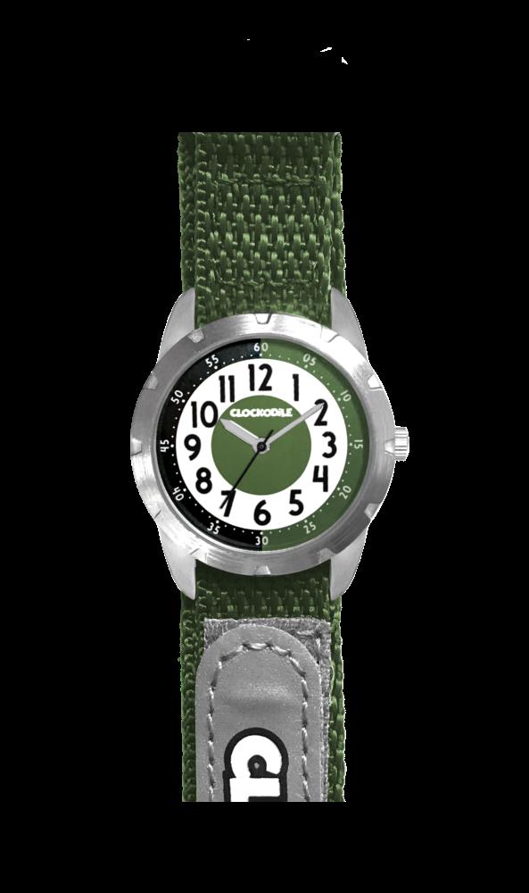 Zelené reflexní dětské hodinky na suchý zip CLOCKODILE REFLEX CWX0023