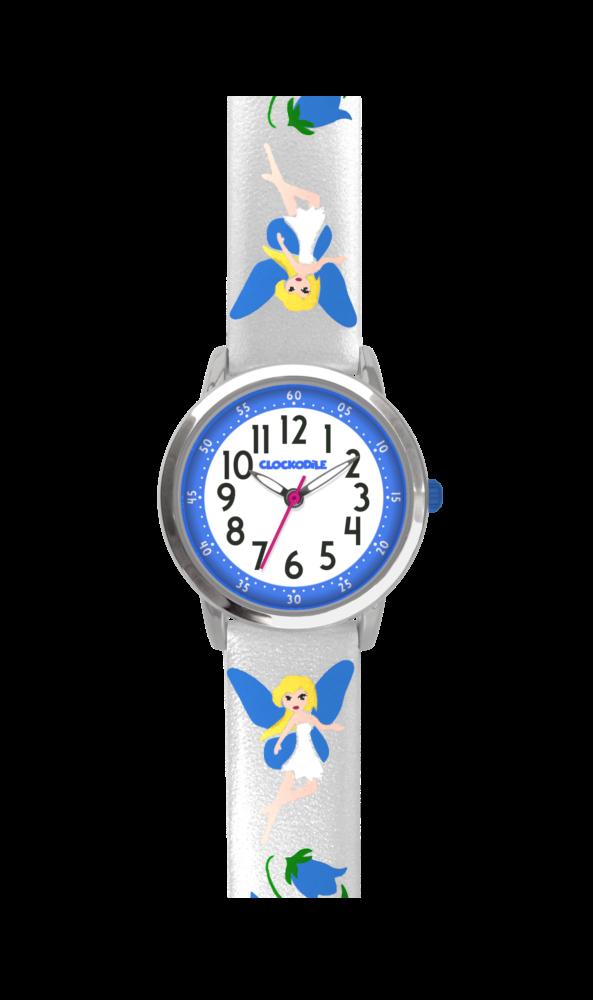 Stříbrné třpytivé dívčí hodinky s modrými vílami CLOCKODILE FAIRIES CWG5083