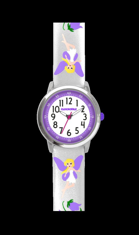 Stříbrné třpytivé dívčí hodinky s fialovými vílami CLOCKODILE FAIRIES CWG5082
