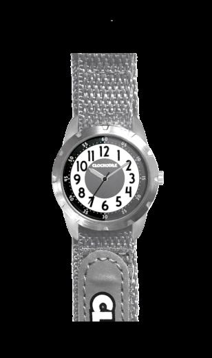 Šedé reflexní dětské hodinky na suchý zip CLOCKODILE REFLEX CWX0022