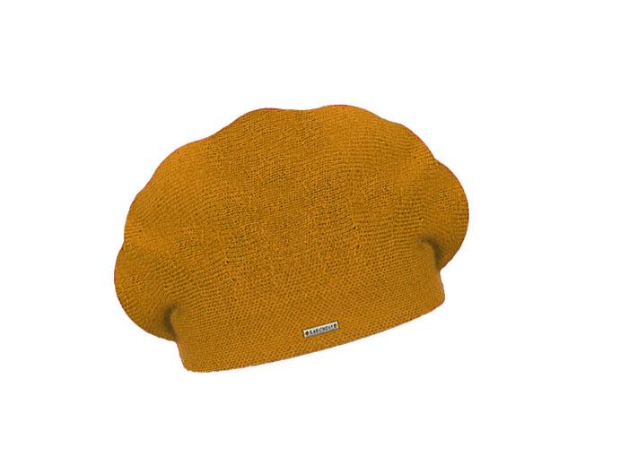Dámský vlněný pletený baret Manon Mustard