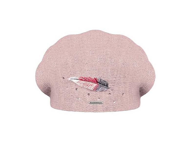 Dámský vlněný pletený baret Inka Light Pink
