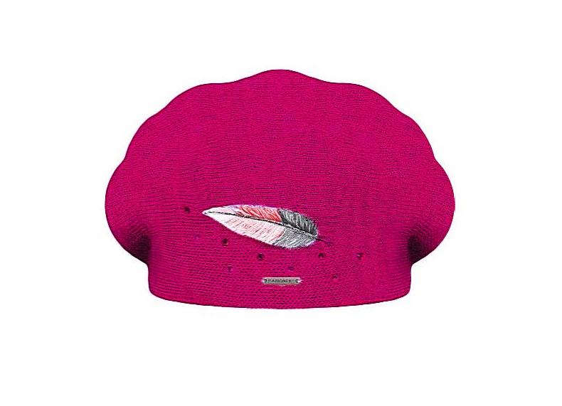Dámský vlněný pletený baret Inka Fuchsia