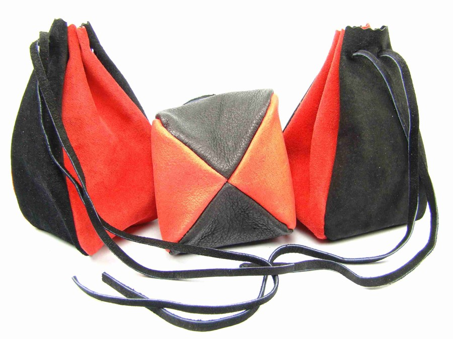 Kožený MAXI měšec červený-černý