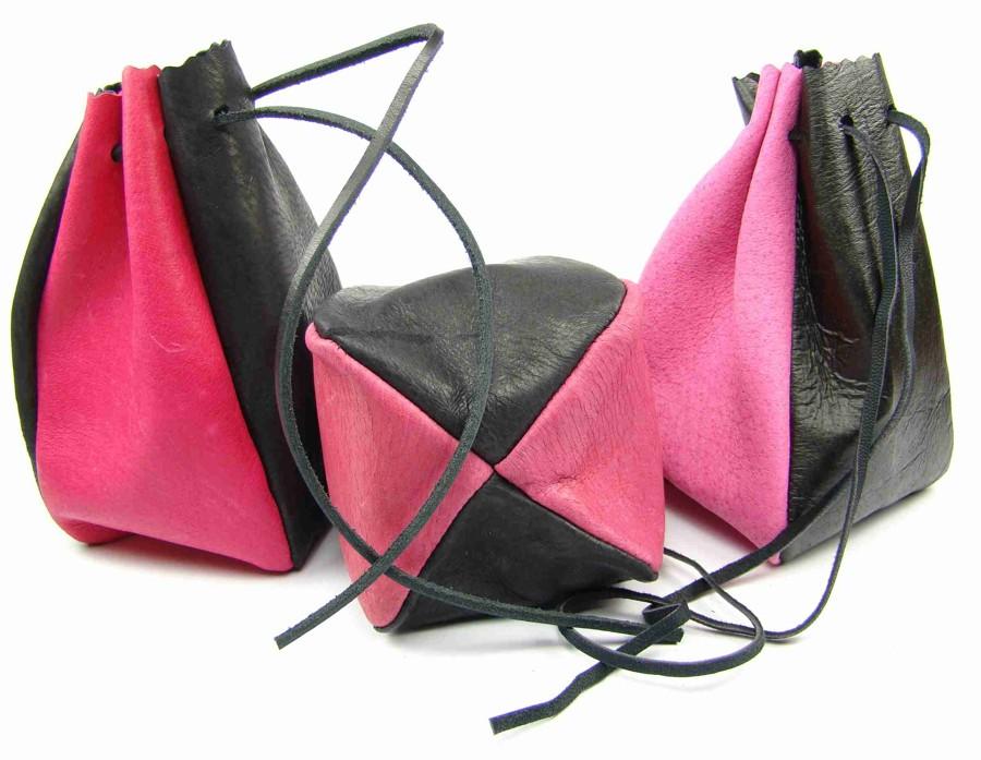 Kožený MAXI měšec růžový-černý