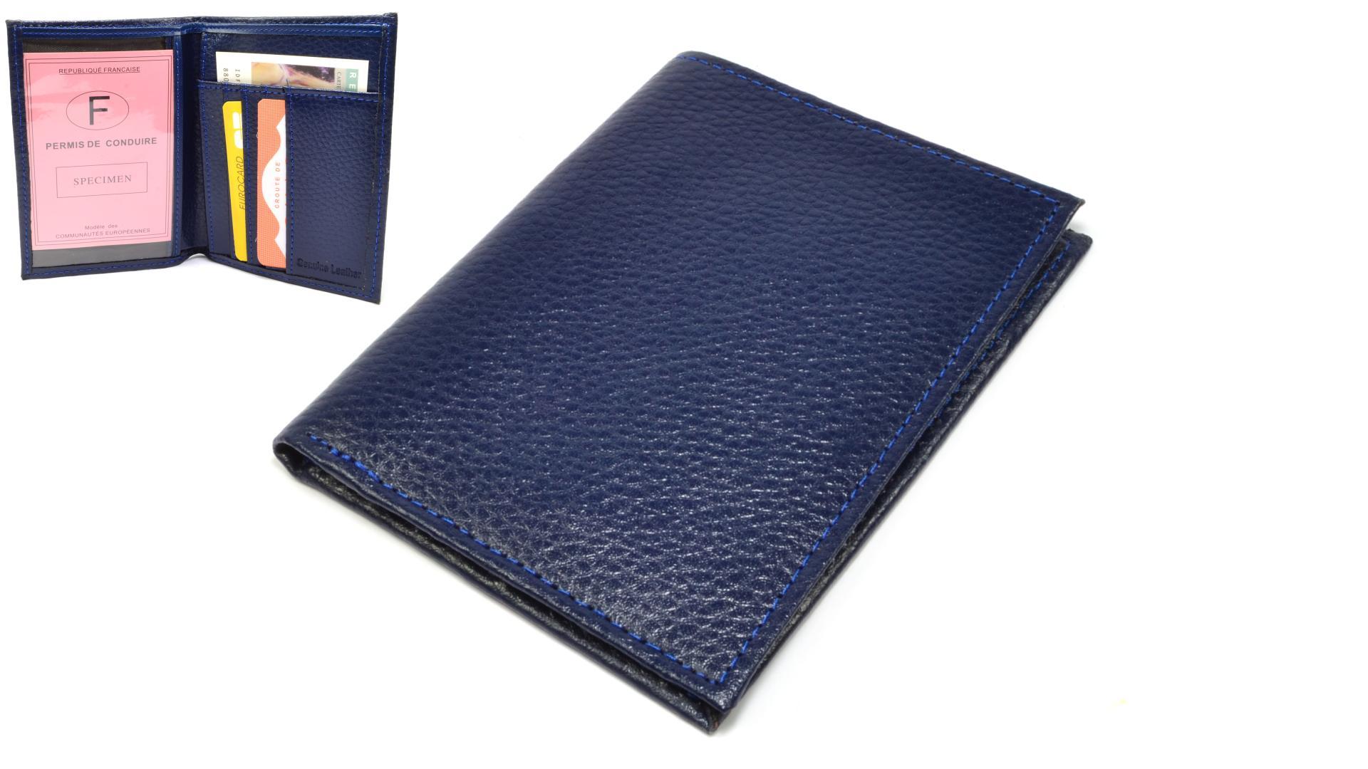 Kožené pouzdro na karty modré