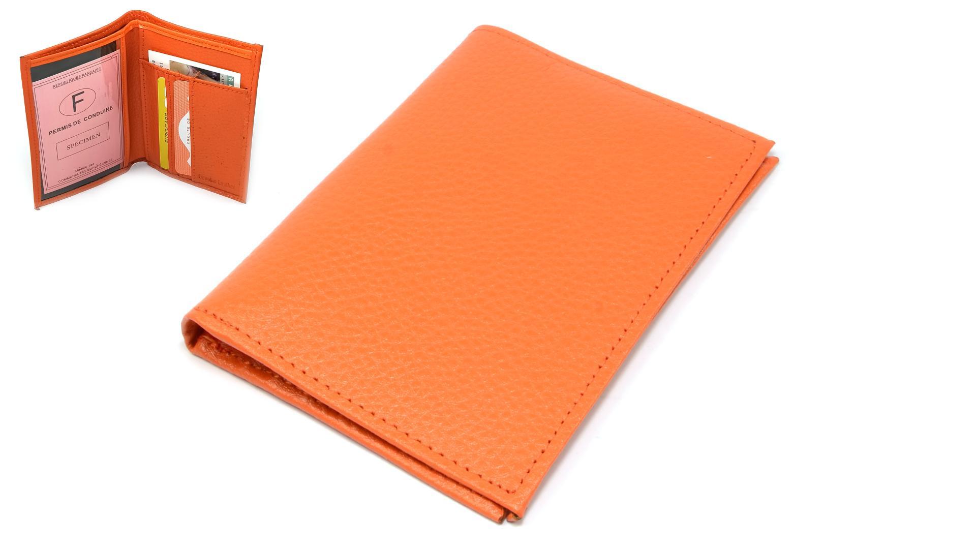 Kožené pouzdro na karty oranžové
