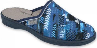 Chlapecké pantofle BEFADO JOGI 707Y402 s nápisem EXTREME a šipky, modré