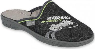 Chlapecké pantofle BEFADO JOGI 707Y405 motiv SPEED RACE formule, Čierne