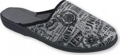 Chlapecké pantofle BEFADO 201Q091 vzor novinový potisk, šedé