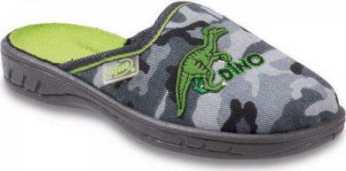 Chlapecké pantofle BEFADO 707X365 maskáčové motiv DINO, šedé