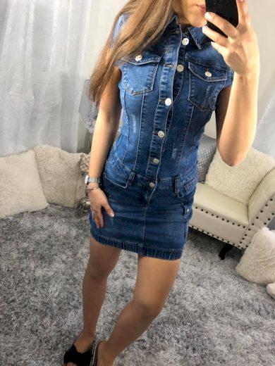 Tmavší modré džínové šaty E2629