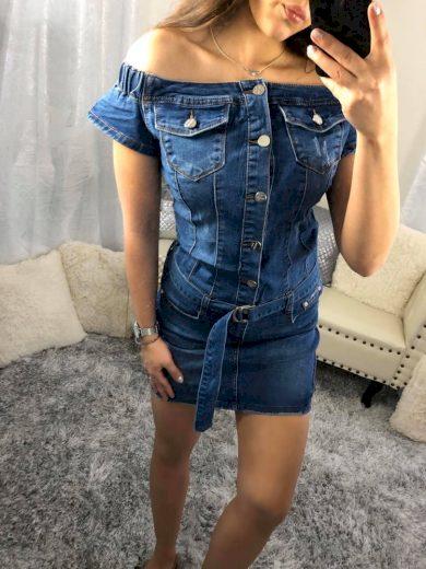 Tmavě modré džínové šaty na ramena s páskem E2626