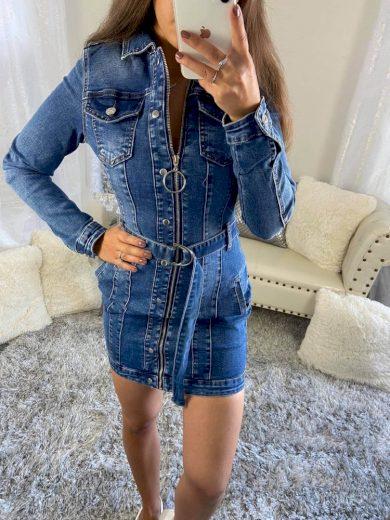 Džínové šaty na zip s páskem