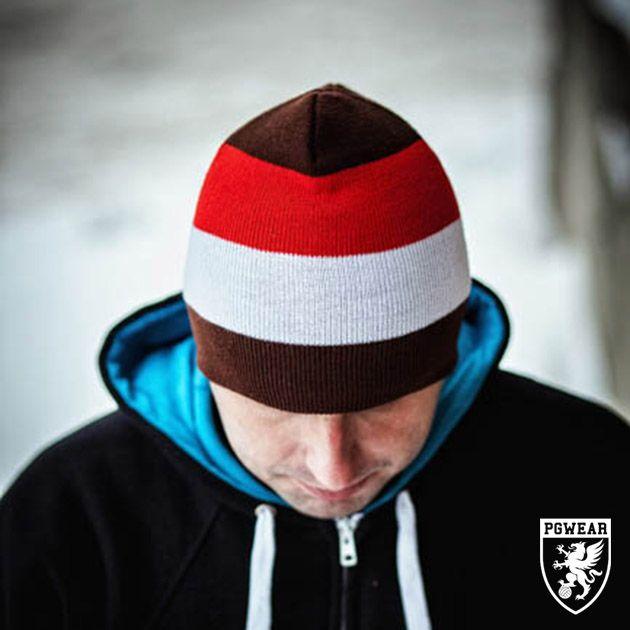 Čepice zimní PGwear Winter 2 - hnědá-červená-bílá