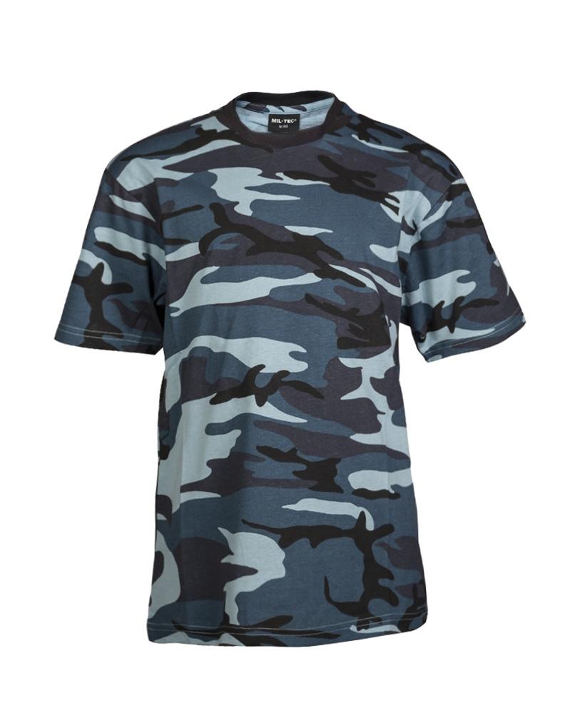 Maskáčové tričko dětské - skyblue, XL