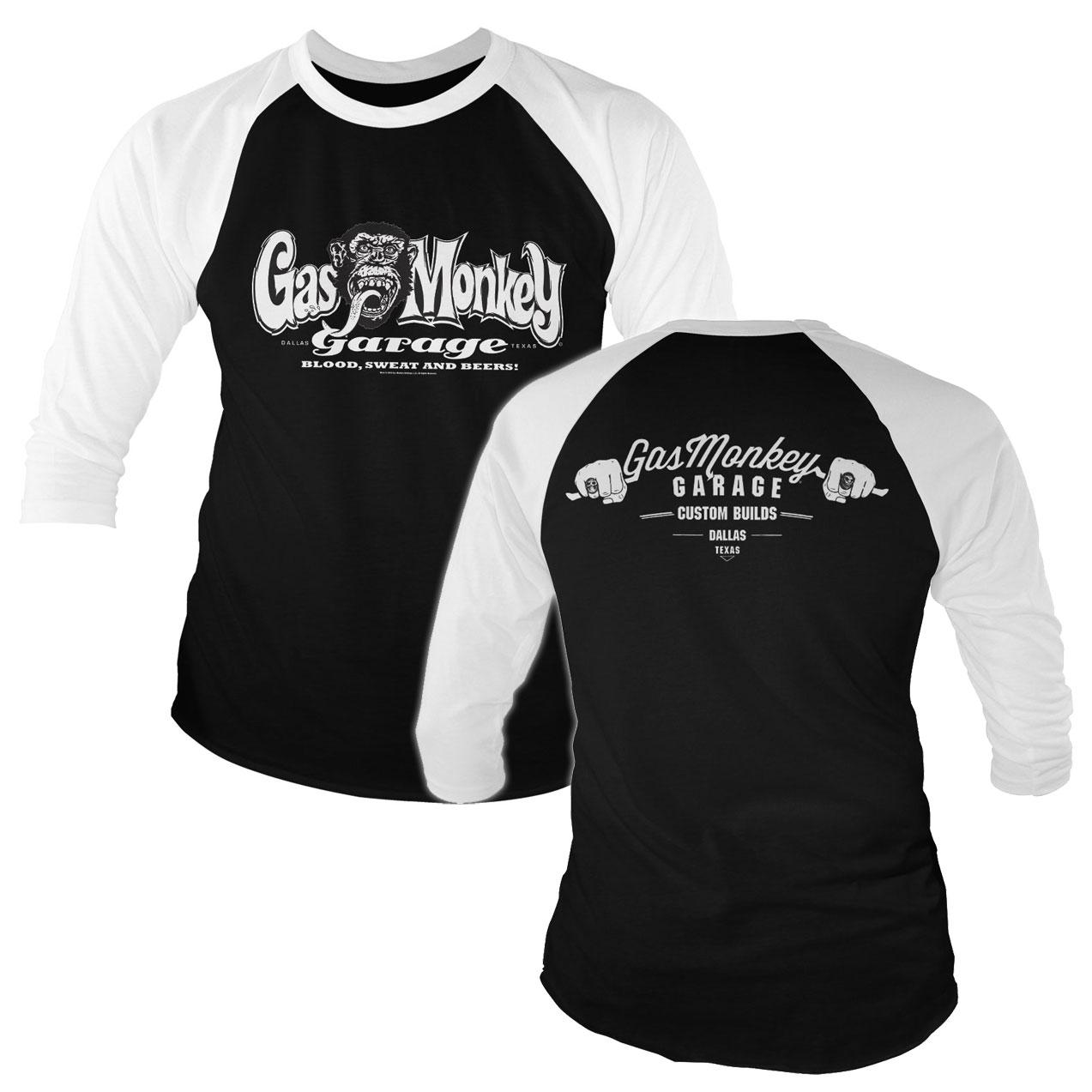 Triko 3/4 Gas Monkey Garage Bar Knuckles Baseball - černé-bílé, XL