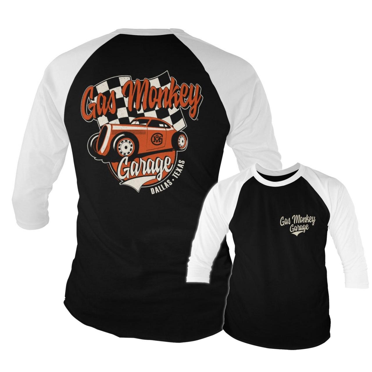 Triko 3/4 Gas Monkey Garage Racing Baseball - černé-bílé, XL