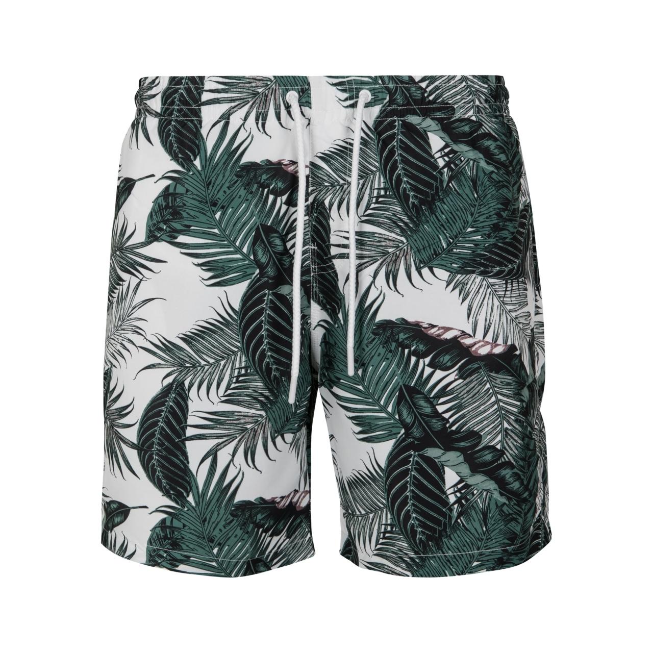 Plavky Urban Classics Pattern Palm Leaves - bílé-zelené, M