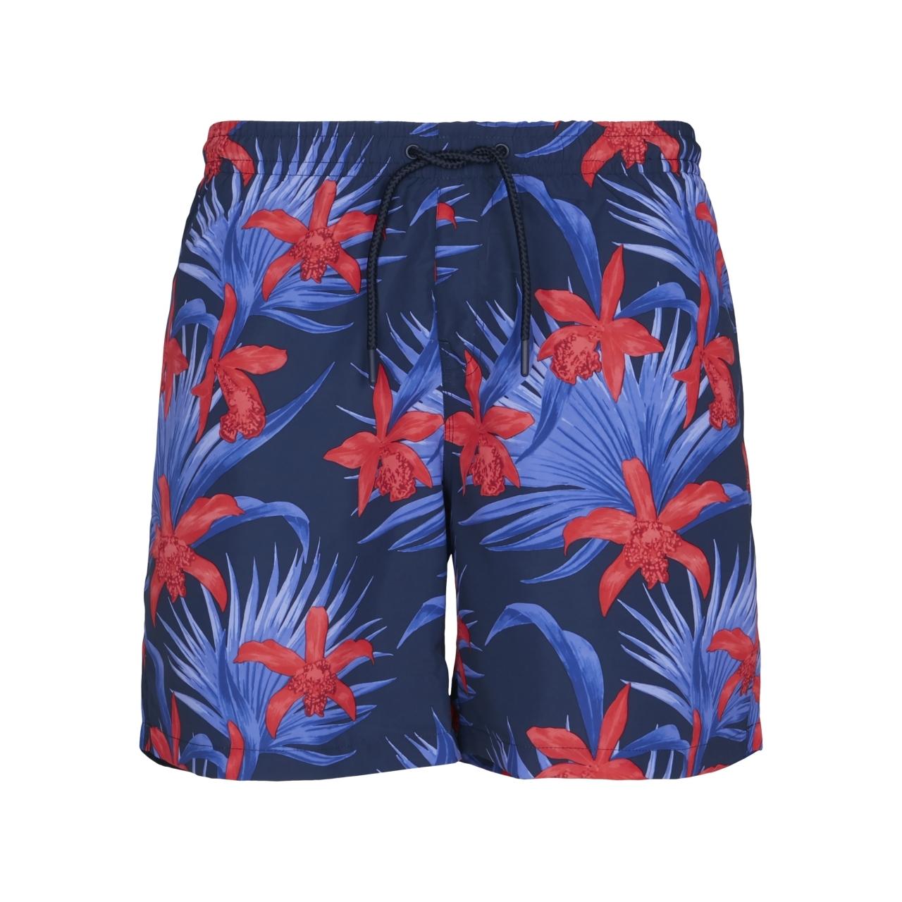 Plavky Urban Classics Pattern Flower - modré-červené, XL