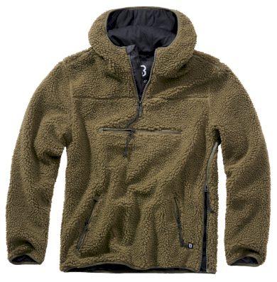 Bunda fleecová Brandit Teddyfleece Worker Pullover - olivová, XL