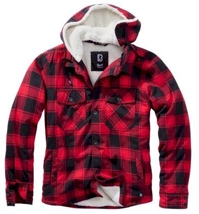 Bunda Brandit Lumberjacket Hooded - červená, XL