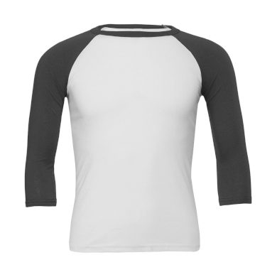 Tričko Bella Triblend Baseball 3/4 - bílé-šedé, XL