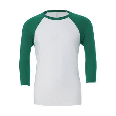 Tričko Bella Triblend Baseball 3/4 - bílé-zelené, M