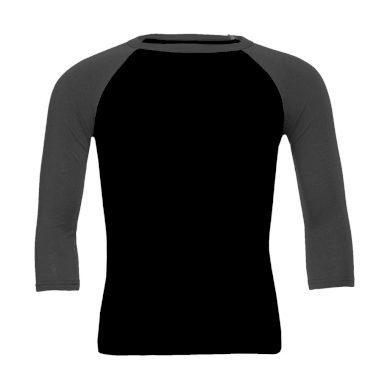 Tričko Bella Triblend Baseball 3/4 - černé-šedé, M