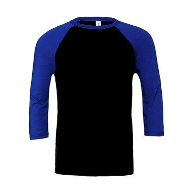 Tričko Bella Triblend Baseball 3/4 - černé-modré, XS