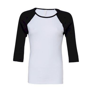 Tričko Bella Baseball 3/4 - bílé-černé, XXL