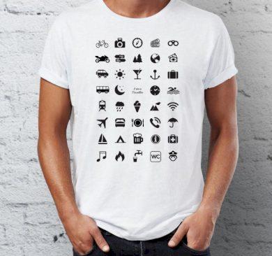 Cestovní tričko s ikonami - bílé, L