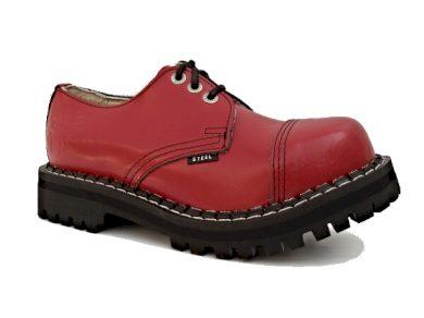 Boty Steel 3-dírkové - červené, 44