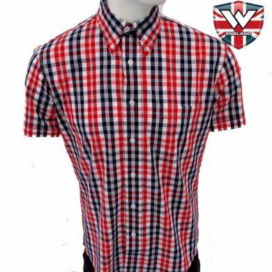 Košile Warrior Vintage Short Down Ferdy - modrá-červená, S