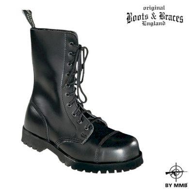 Těžké kožené boty Boots and Braces 10 - černé, 5