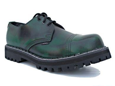 Boty Steel 3-dírkové - zelené stírané, 40