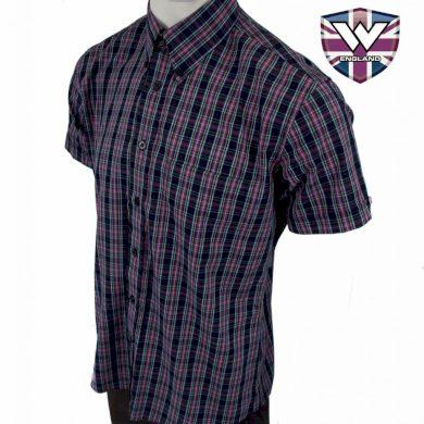 Košile Warrior Vintage Short Down Brunel - černá-fialová, S