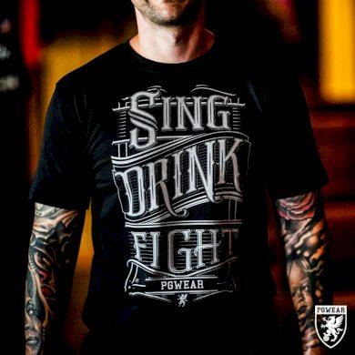 Triko PGwear Sing Drink Fight - černé, S