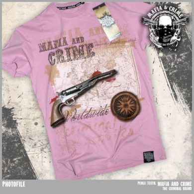 Tričko Mafia & Crime Old Gun - růžové, XL