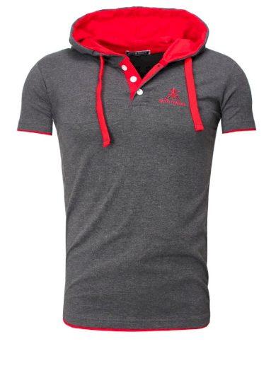 Polokošile Akito Tanaka Contras - šedá-červená, XL