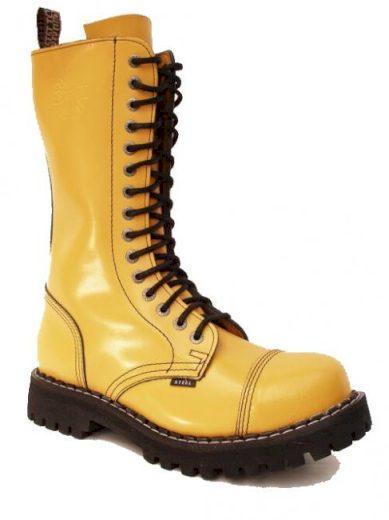 Boty Steel 15-dírkové - žluté, 37