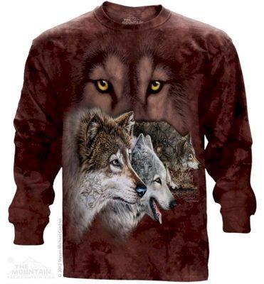 Mikina The Mountain Long Find 9 Wolves - červená, L