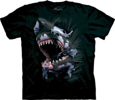 Tričko unisex The Mountain Breakthrough Shark - černé, S