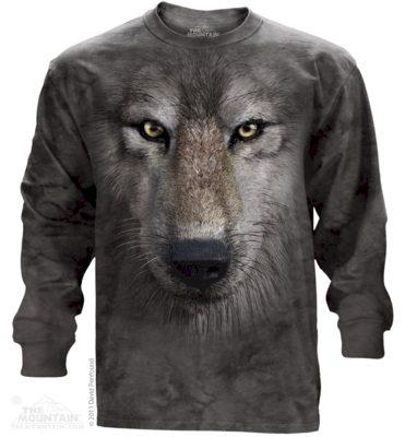 Mikina The Mountain Long Wolf Face - šedá, XL