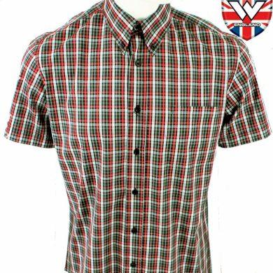Košile Warrior Vintage Short Down Jenner - černá-červená, S