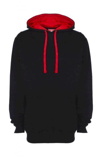 Mikina s kapucí FDM Contrast - černá-červená, XXL