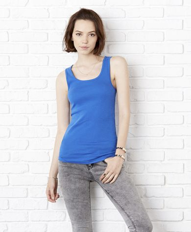 Top Bella Stretch Rib Tank - modrý, S